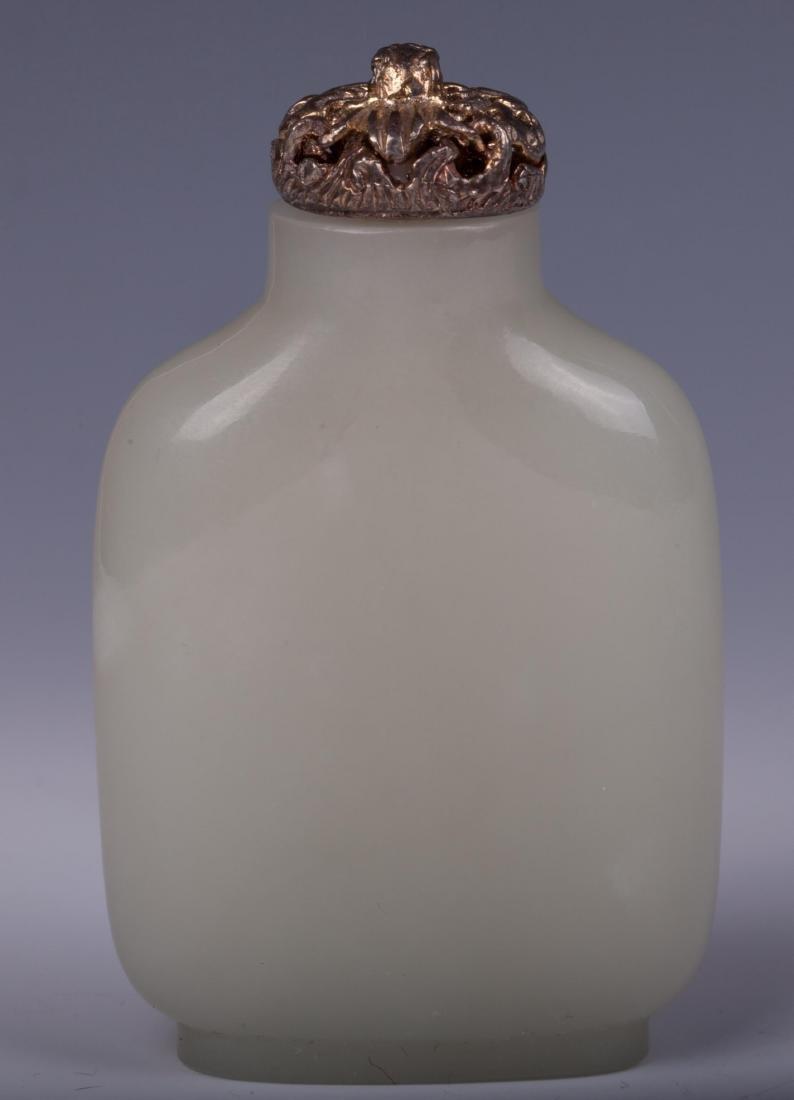 CHINESE PLAIN WHITE JADE SNUFF BOTTLE