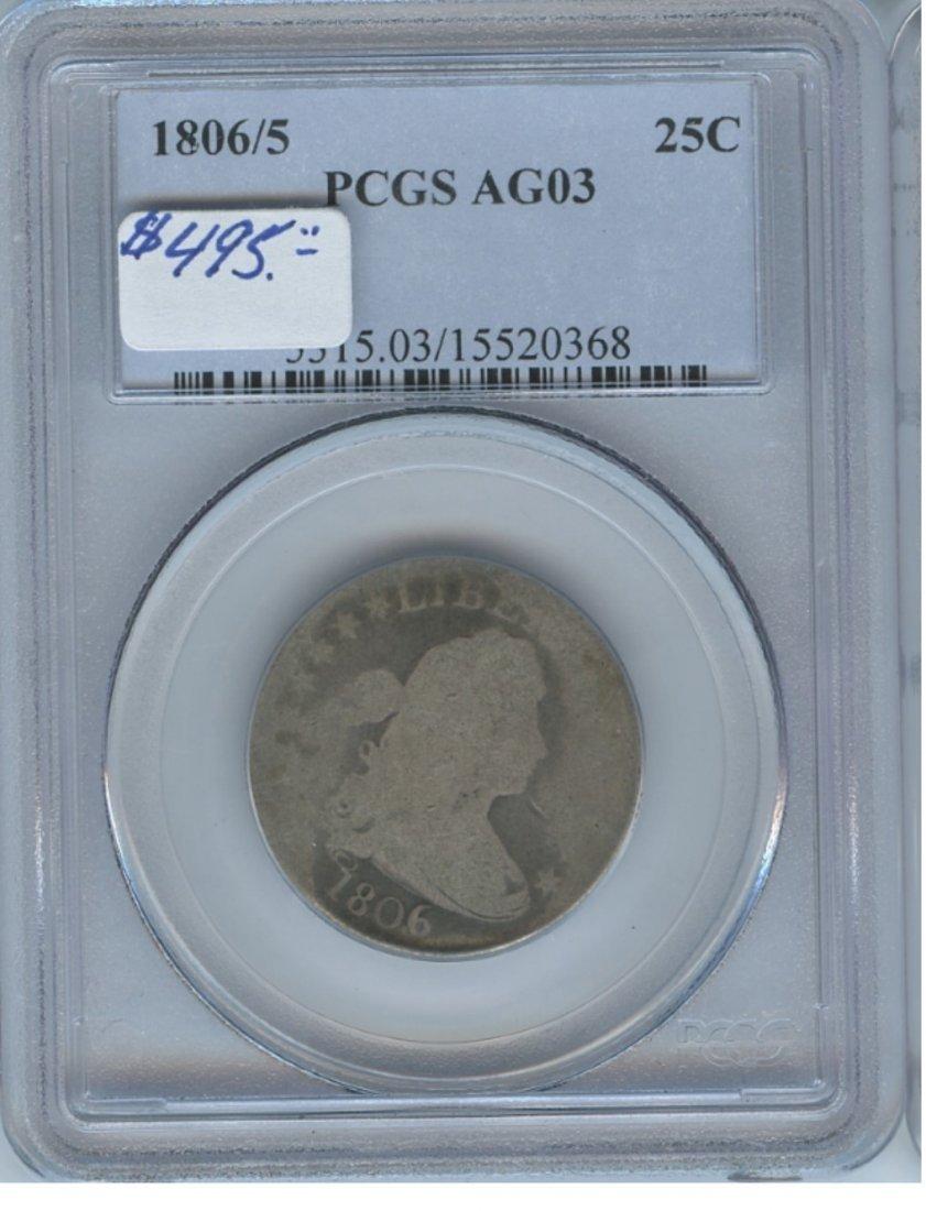 1806-5 25C AG03 PCGS Bust Quarter Rare Coin