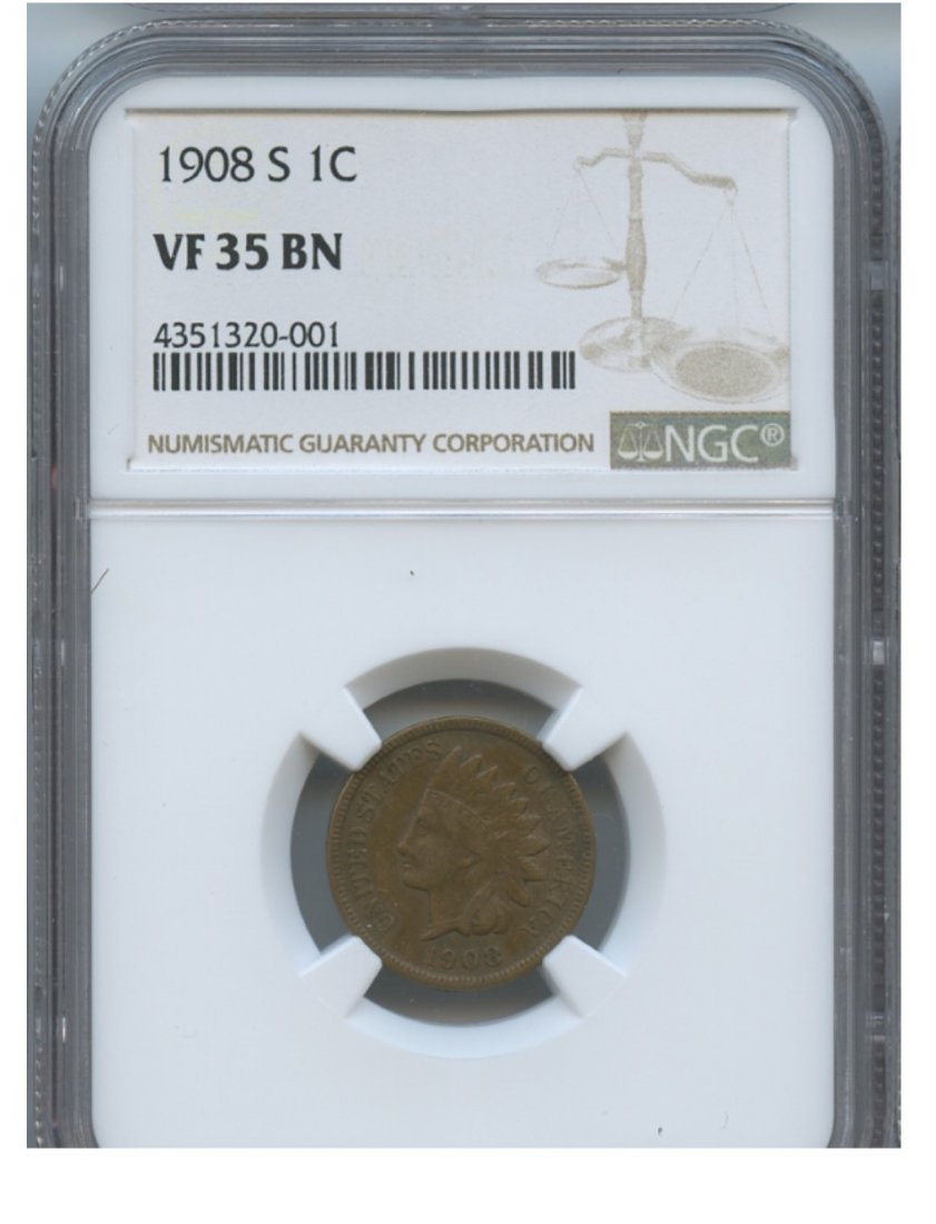 1908-S 1C VF35 BN NGC Lincoln Penny Rare Coin