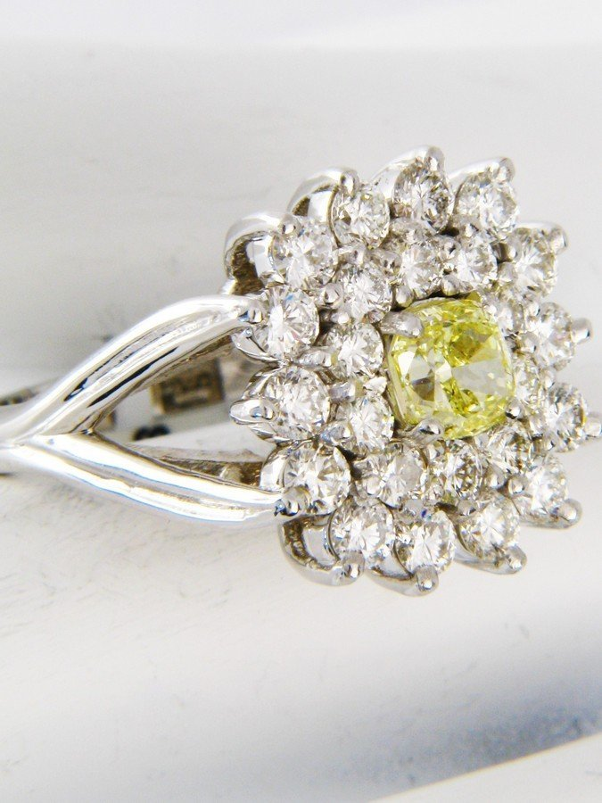 GIA Certified .78CT Yellow Diamond Ring 1.6CTW 18K