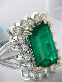 4.14CT Columbian Emerald 1Ct Diamond Ring 18K