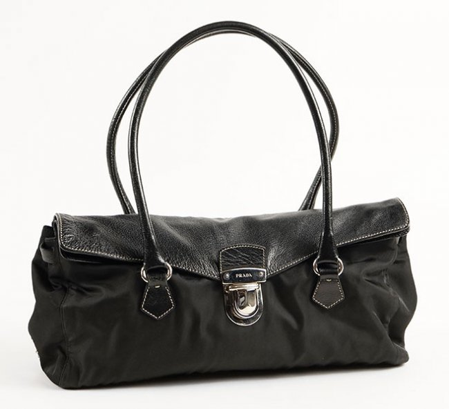 PRADA BLACK NYLON LEATHER SHOULDER BAG