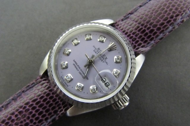 LADIES ROLEX DATEJUST PURPLE DIAMOND DIAL