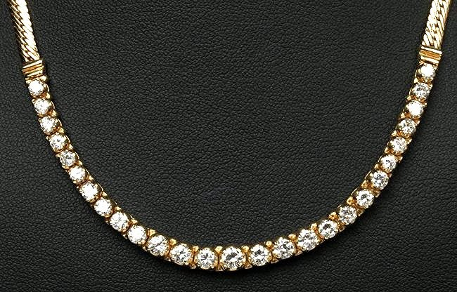 STUNNING 2.86 CTS DIAMOND 14K YG FOXTAIL NECKLACE