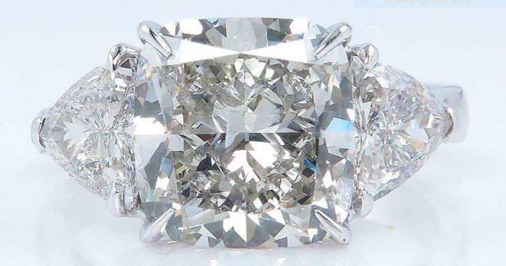 6.63CTS VINTAGE SQUARE CUSHION CUT DIAMOND PLATINUM