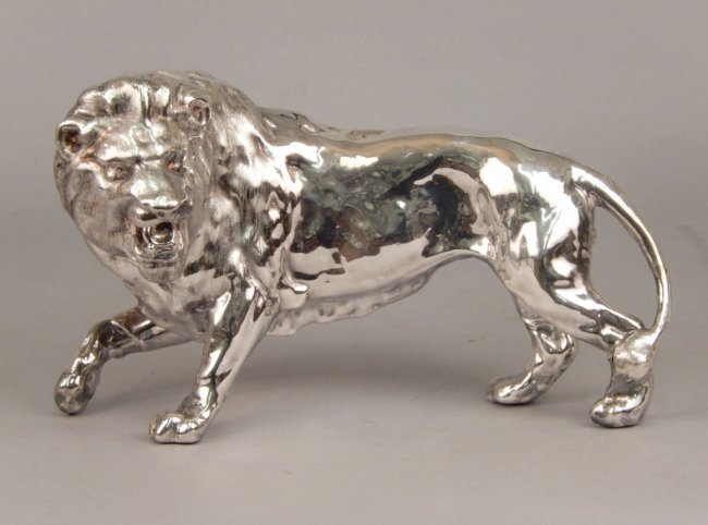 STERLING SILVER STANDING LION SCULPTURE MARKED 925