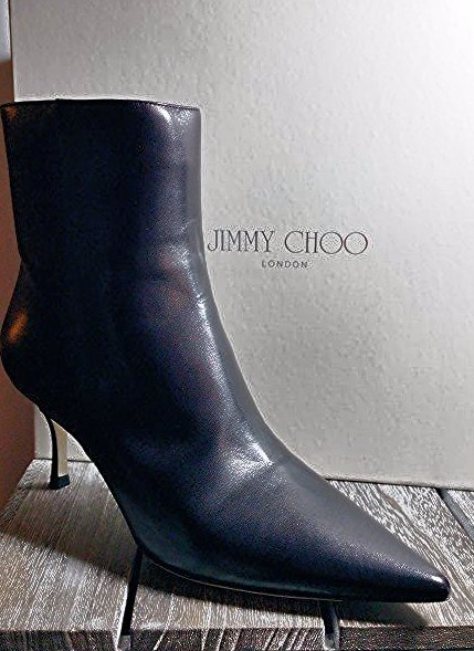 JIMMY CHOO BLACK KAY KID SMOOTH LEATHER ANKLE BOOTS