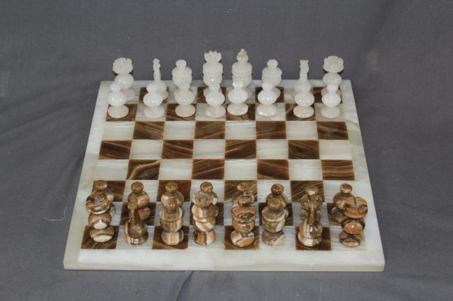 Multi-Onyx and White Marble Chess Set