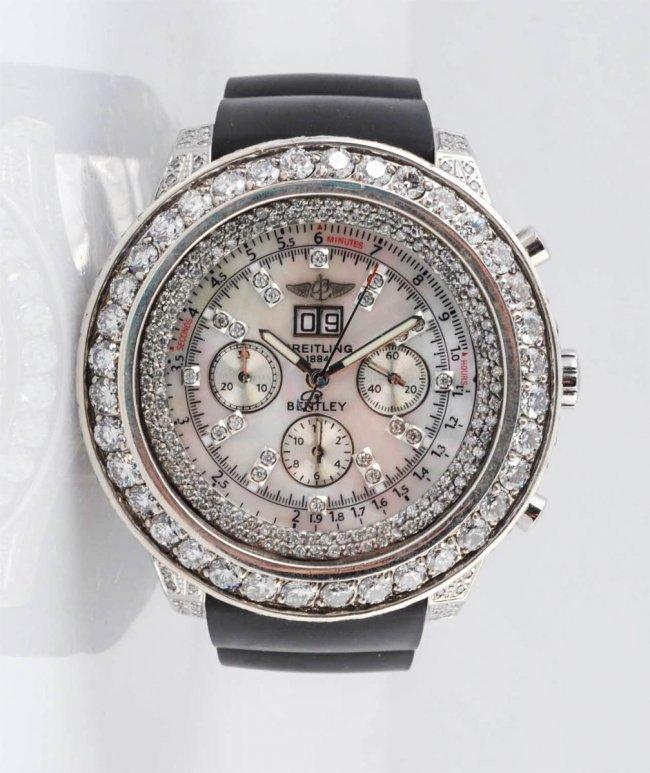 Breitling Bentley SS Chrono Watch 10.75cts Diamond