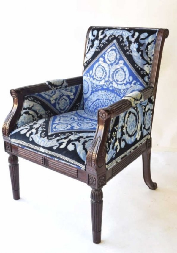 Versace Blue Upholstered Arm Chair