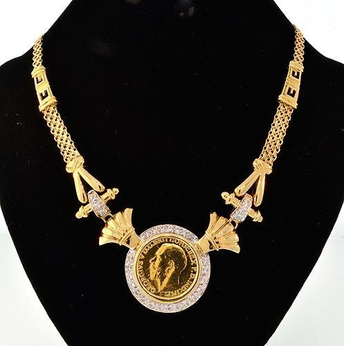 BRITISH SOVEREIGN GOLD COIN NECKLACE, CERTIFIED