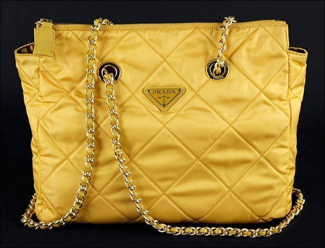 PRADA Yellow Quilted Shoulder Bag