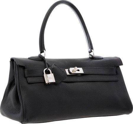 Hermes 42cm Black Togo Leather JPG Shoulder Kelly Bag