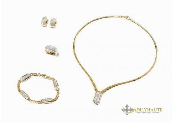 18K YG 5-PC Jewelry Set with 296 Brilliant-Cut Diamonds