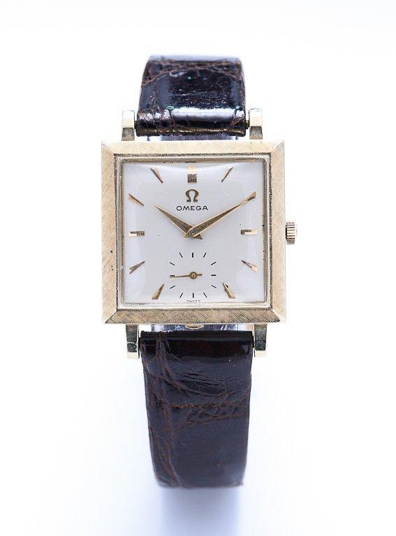 An OMEGA Square Bezel 14K Gold Watch