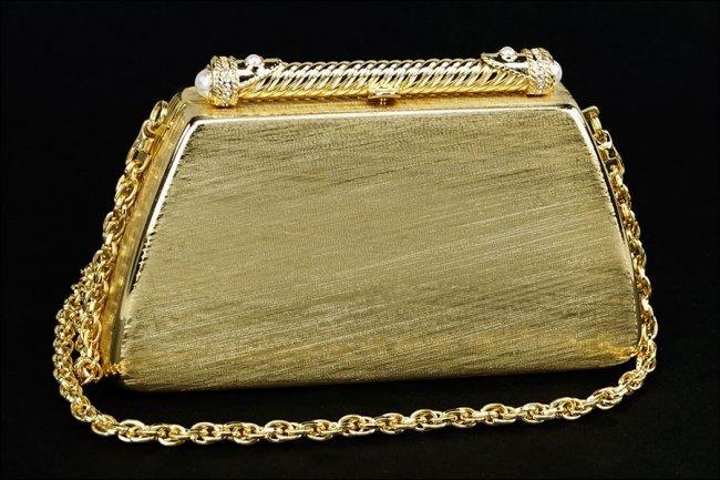 A Rodo Gold Tone Evening Metal Bag
