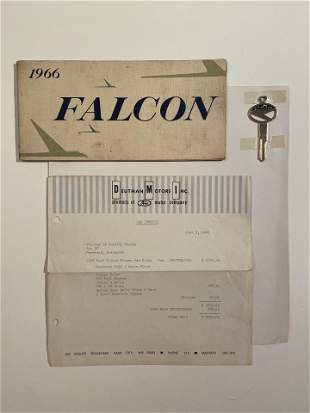 1966 Ford Falcon Owners Manual, Invoice and Key