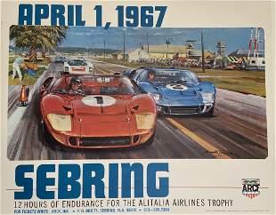 Vintage Original 1967 Sebring Poster Ford GT40, Porsche