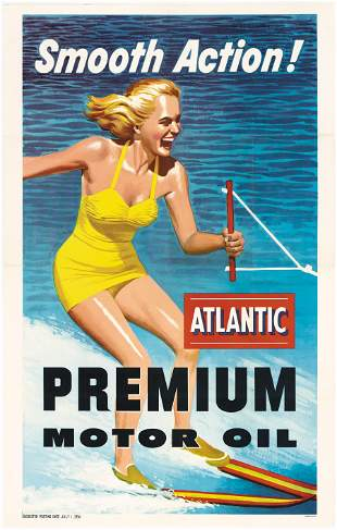 Smooth Action, Atlantic Premium Motor Oil, Rare Poster