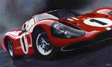 Ford GT-40 Original Oil on Canvas Painting