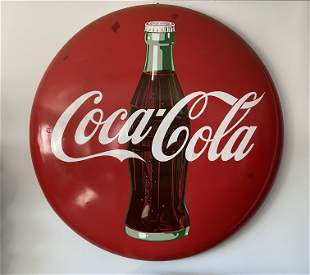 Rare early vintage Cola Cola round Porcelain Sign