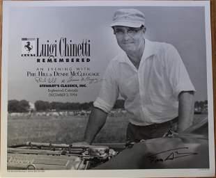 Ferrari Luigi Chinetti- Phil Hill Signed Poster
