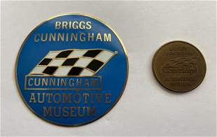 Rare Briggs Cunningham car badge and museum token
