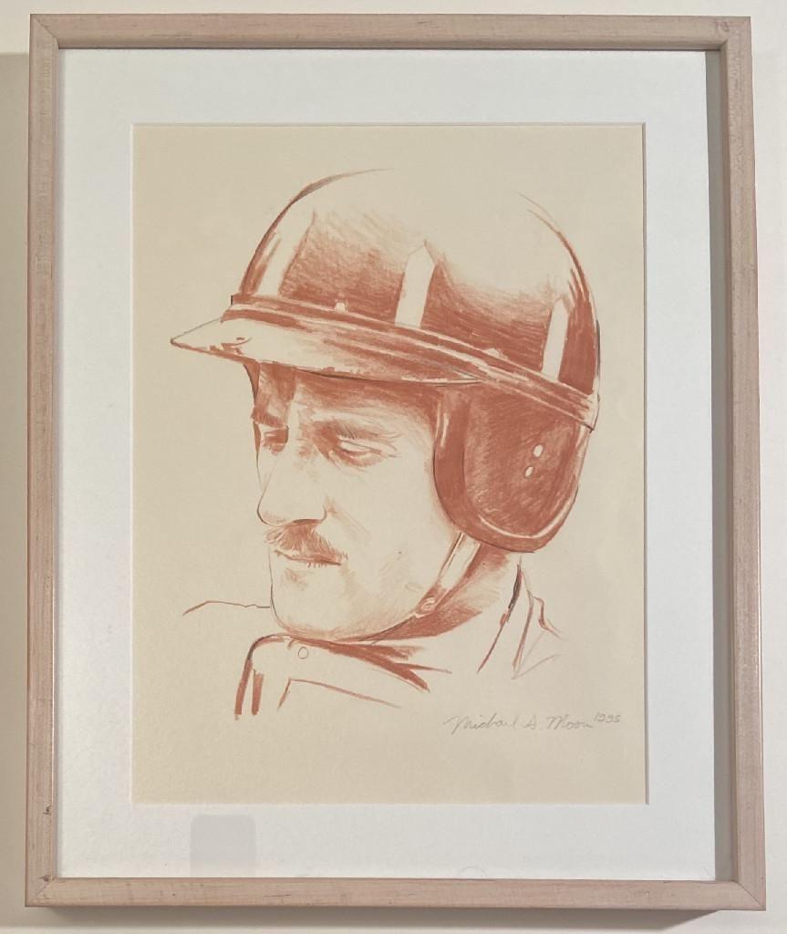 """Graham Hill"" Original Pencil Drawing by Michael Moore"