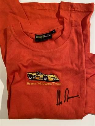 Chris Amon signed Bruce McLaren Trust Shirt Ferrari F1