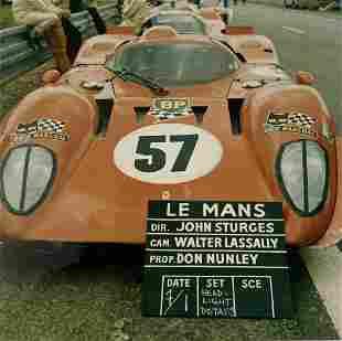Steve McQueen Le Mans Ferrari production shot with