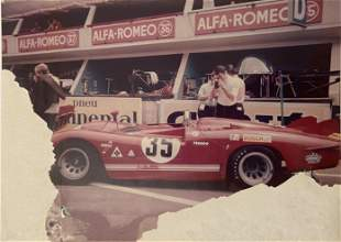 Steve McQueen Le Mans Alfa Romeo production shot from