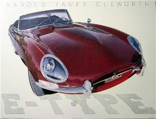 Jaguar E Type Poster by Harold Cleworth