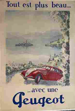 """Tout est plus beau…aec une Peugeot"""" Stone Lithographic"""