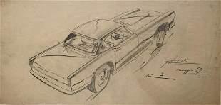 Original Giovanni Michelotti Styling Pencil Drawing