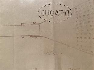 Bugatti Type 59 original Factory Drawing with Blueprint
