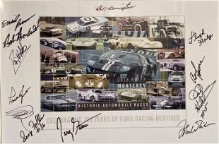 Recent Ford Racing poster signed by many famous drivers