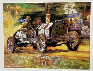 Bob Burman's Buick at Lowell, 1908 Art Poster