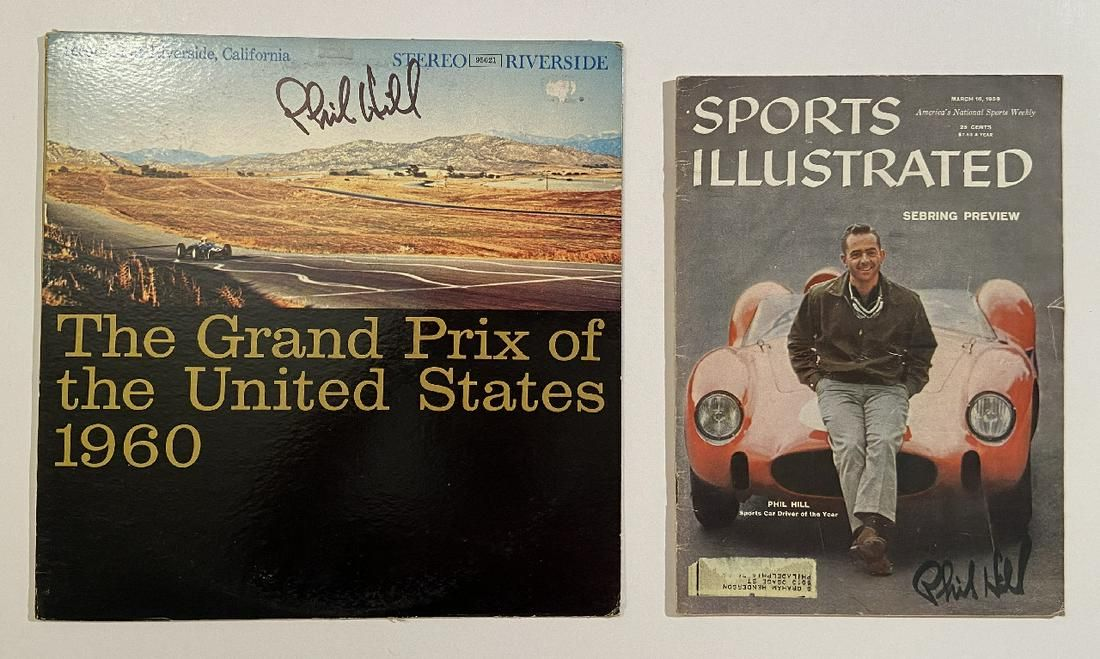 Phil Hill Signed US Grand Prix Album and Sports