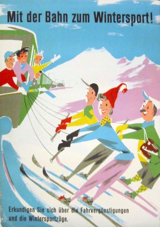 223: Mit der Bahn zum Wintersport-Ski, Zurich, Poster