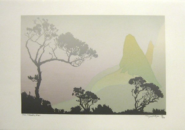 250: Iao Needle, Maui Silkscreen Print New Zealand