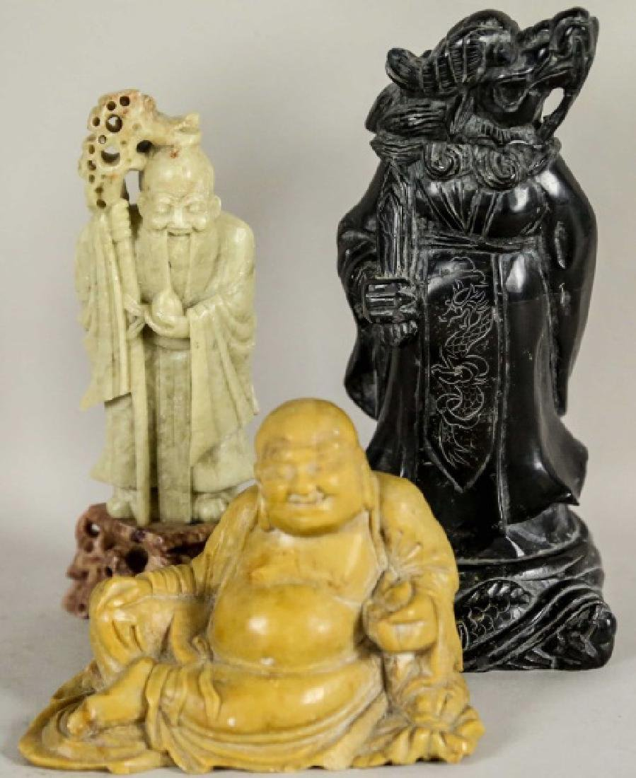 LOT OF THREE CARVED STONE CHINESE FIGURES