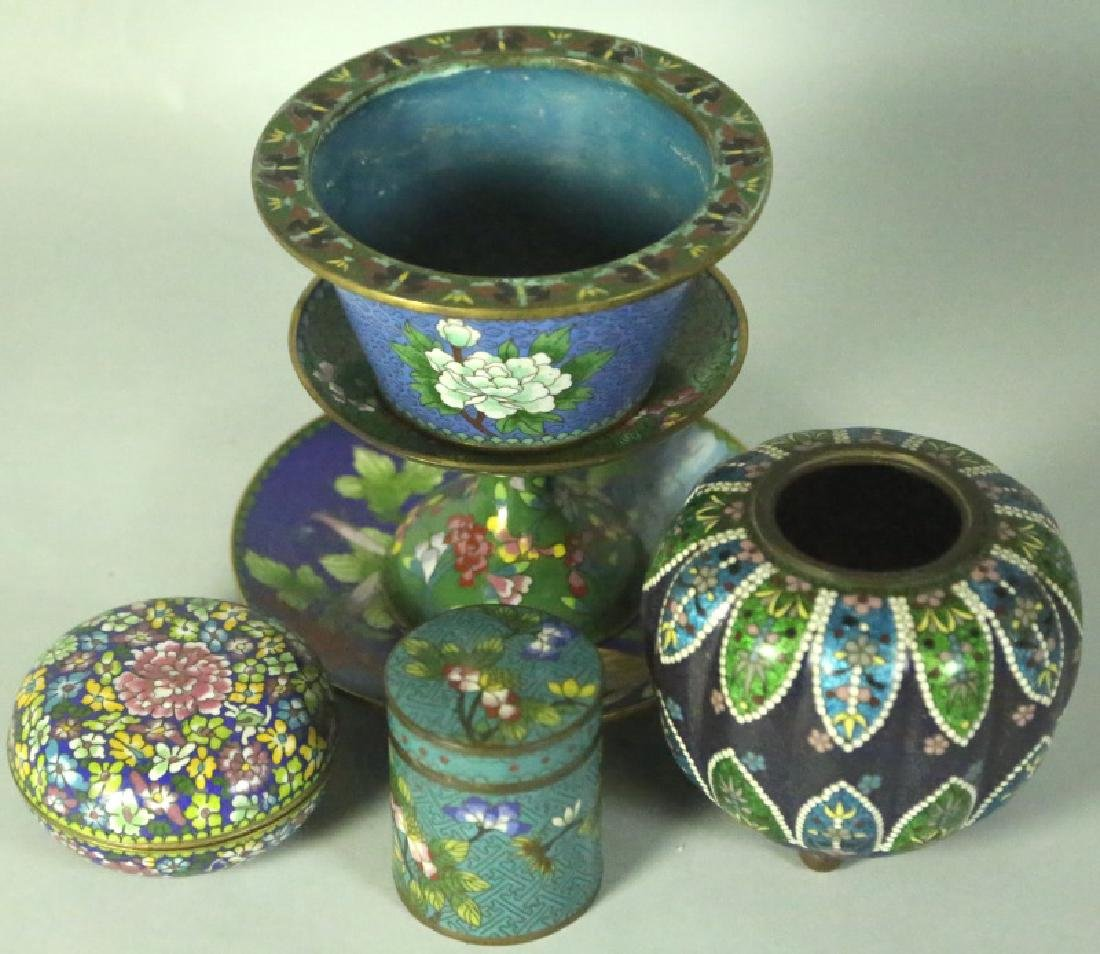 MIXED LOT OF SIX ANTIQUE CHINESE CLOISONNE PIECES