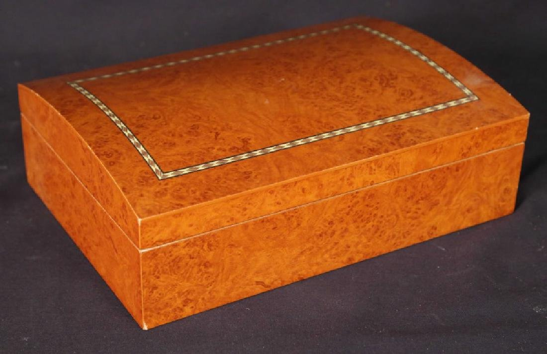 BURLED YEW WOOD WITH INLAID DOMED TOP HUMIDOR