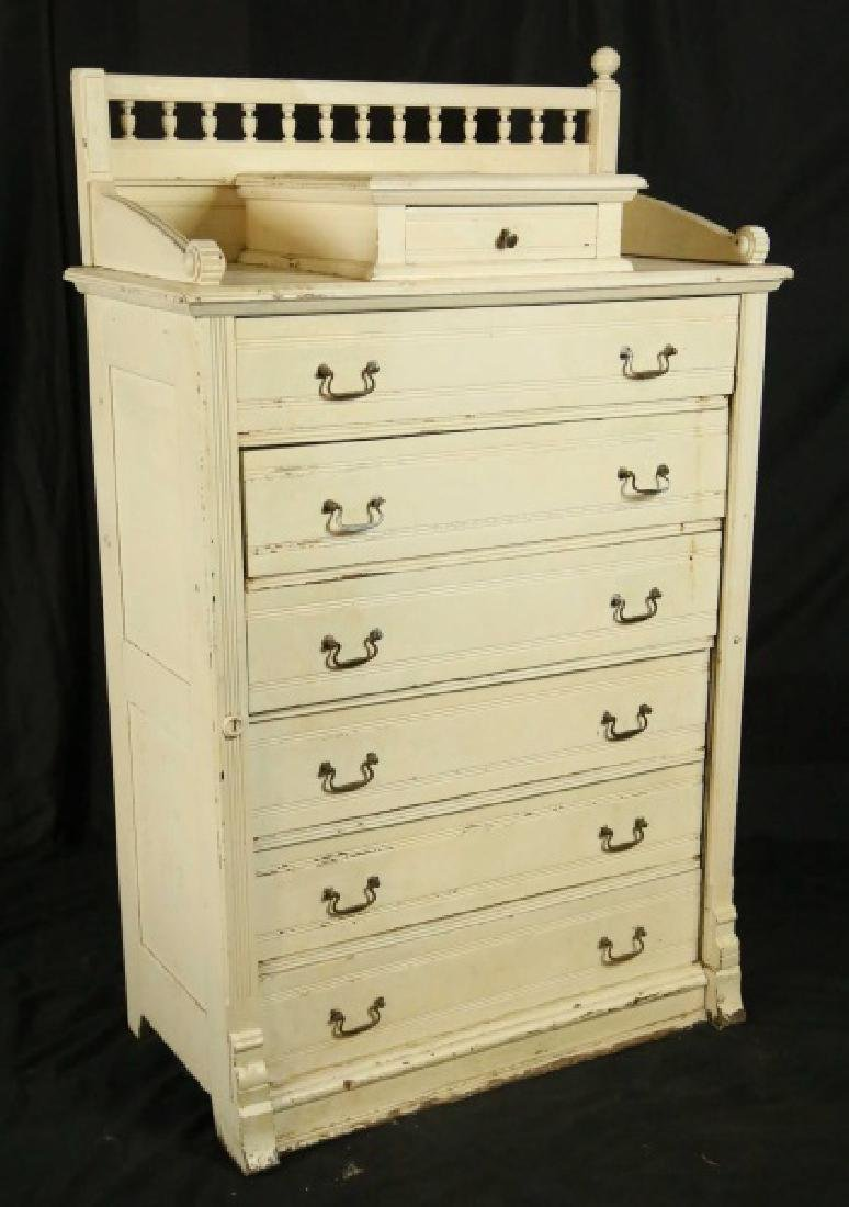 CIRCA 1880's VICTORIAN WHITE CHEST OF DRAWERS