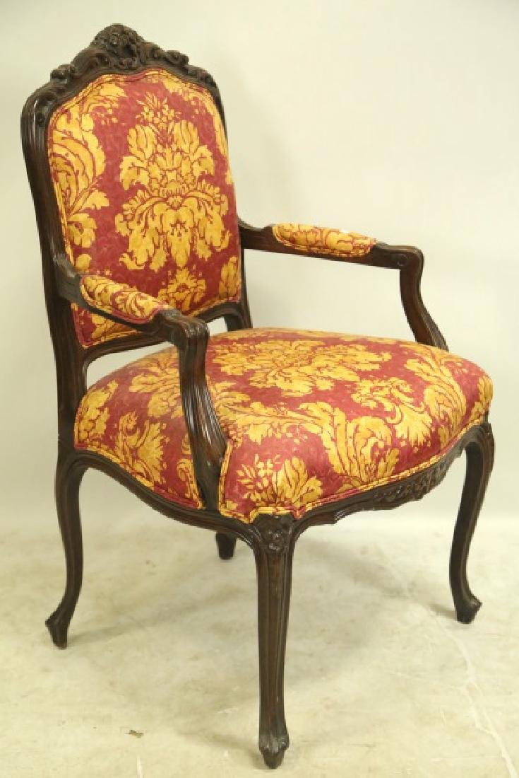 FRENCH STYLE CARVED & UPHOLSTERED ARMCHAIR