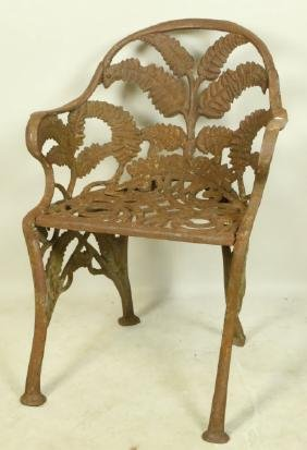 THREE CIRCA 1850's AMERICAN CAST IRON GARDEN CHAIR