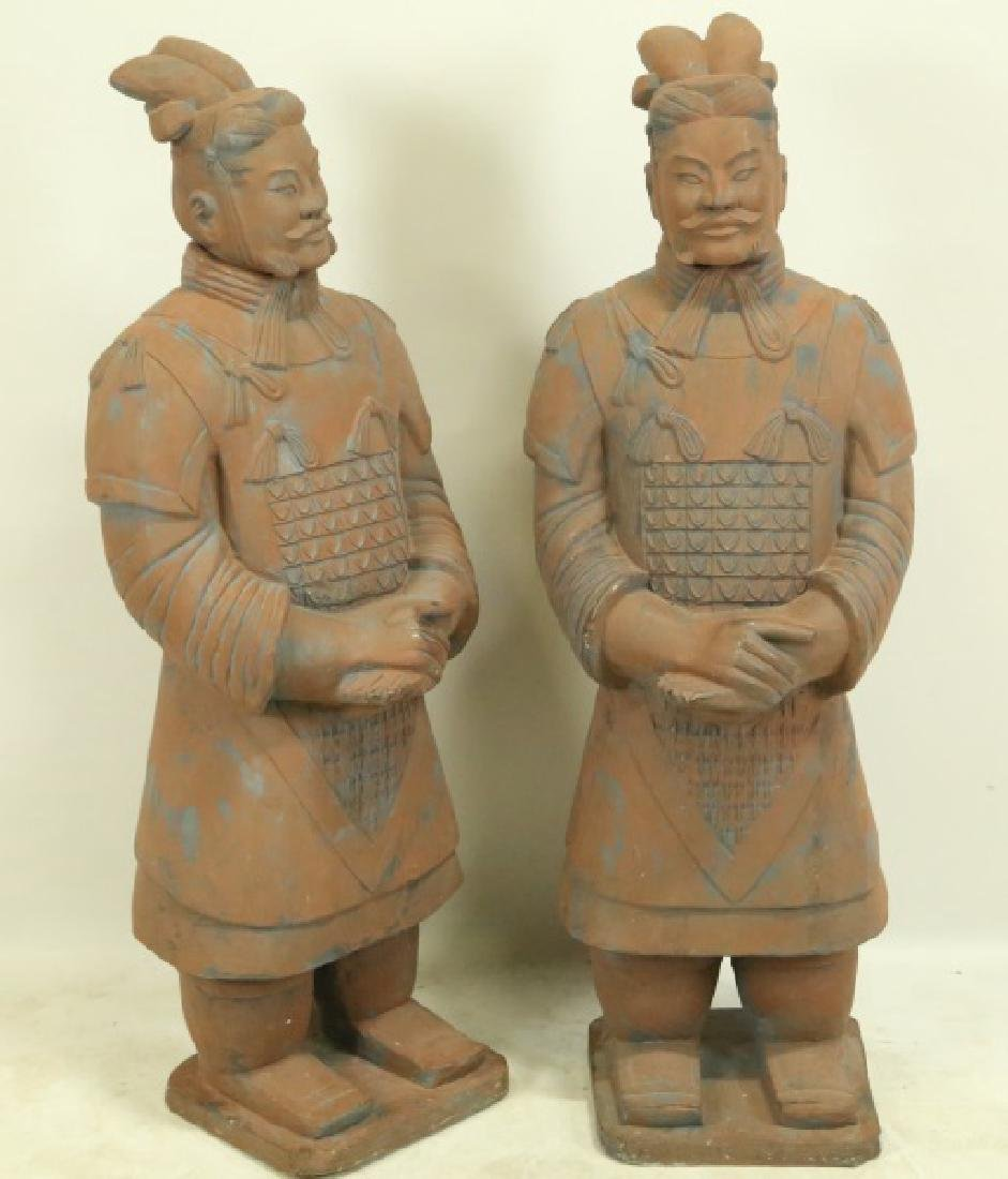 PAIR OF TERRACOTTA CHINESE WARRIOR FIGURES