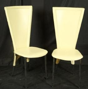 SET OF EIGHT ITALIAN LEATHER CHAIRS ON CHROME LEGS