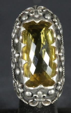 STERLING SILVER CITRINE RING, SIZE 7