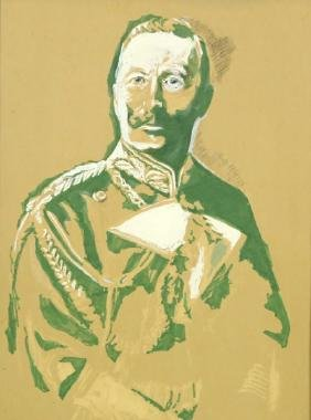 PORTRAIT OF KAISER WILHELM WATERCOLOR ON PAPER